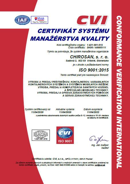 chirosan - certifikat